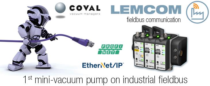 Mini-vacuum pump with fieldbus communication, LEMCOM Series