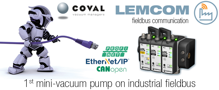 Mini-vacuum pump with fieldbus communication, LEMCOM Series